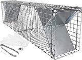 Große lebend Marderfalle 100 cm mit Fang Zubehör und Videoanleitung I Wetterfeste, robuste Lebendfalle I Falle 2 Eingänge für Marder Katze I Kaninchenfalle Katzenfalle Marderfallen